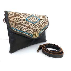Kilim Bandoulière Anse Handbag Main A Tendance Arrondi Laine Pochette Besace Neuve Leather Sac Accessoire Bag Neuf Rabat Sacoche Cuir Noir Femme TKc13lFuJ