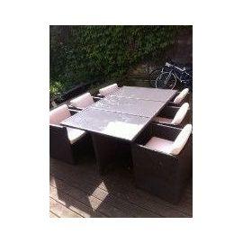 Salon De Jardin Teck Et Rotin Tresse Vernis / Vernis (Table+ 6  Chaises+3transats)