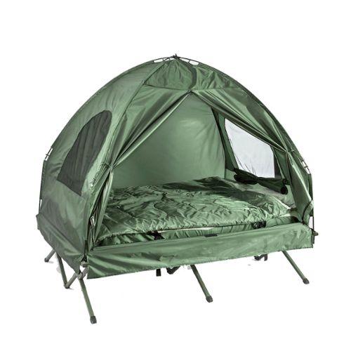 SoBuy® OGS32-L-GR 4-in-1! 2 Places Lit pliant Lit de camp pliable voyage  Camping avec toit, sac de couchage, matelas gonflable, sac de transport et