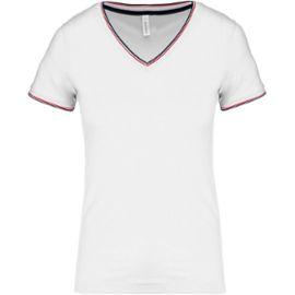 V Courtes K394 Shirt Manches Coton Blanc T Piqué Col Femme tCxshQdr