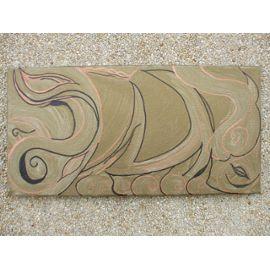 Tableau Paysage Etrusque Noir Cuivré Sur Fond Couleur Bronze Pièce Unique Peintre Professionnelle Acrylique Sur Toile Bords Peints Prêt à