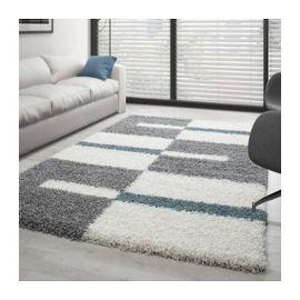 Tapis de salon Shaggy designe pile longue plusieurs couleurs et dim.  disponible - Gris-Blanc-Turquoise - 80x250 cm