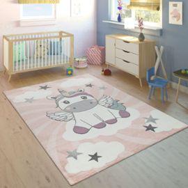 Tapis Enfant Chambre Enfant Filles Moderne Licorne Sur Nuages Rose Violet  160x230 cm