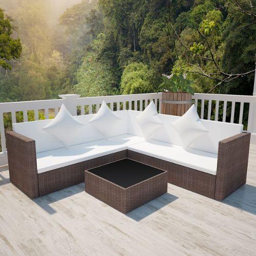 Vidaxl salon de jardin avec canapé 2 places en polyrotin ...