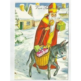 Vive Saint Nicolas Carte Couleur Ane Charge De Cadeaux Pas Ecrite Rakuten